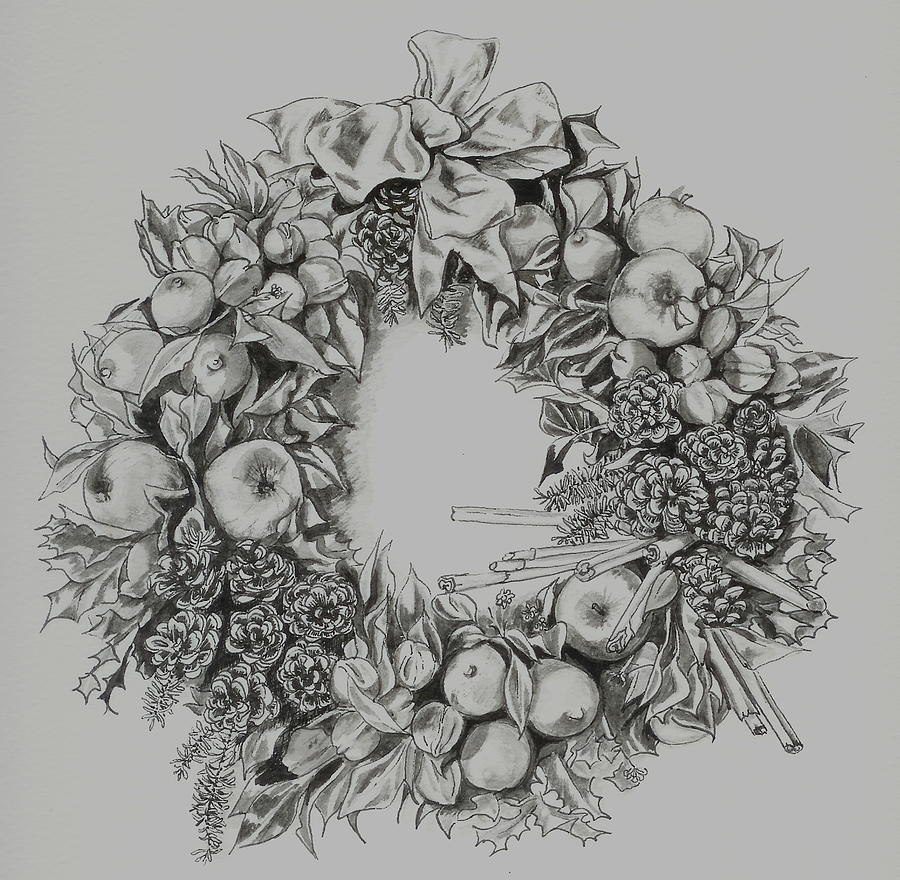 Drawings Of Christmas Wreaths.Christmas Wreath