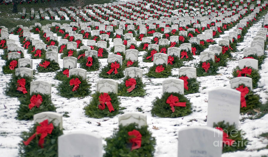 Horizontal Photograph - Christmas Wreaths Adorn Headstones by Stocktrek Images