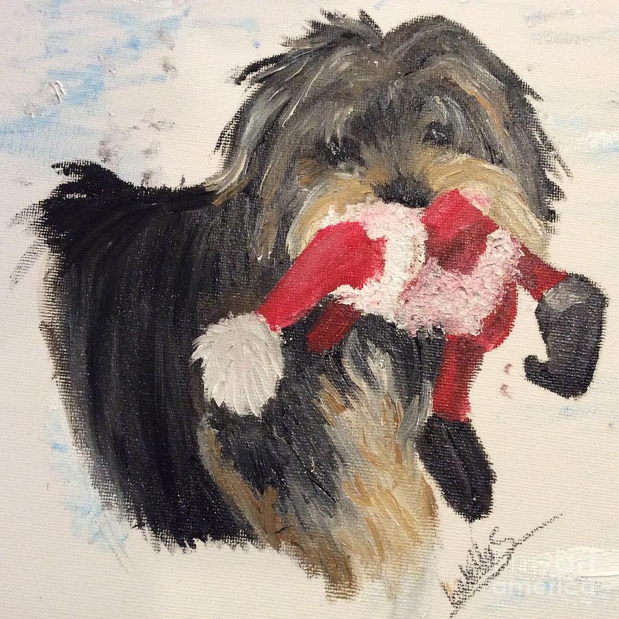 Christmas Yorkie Painting