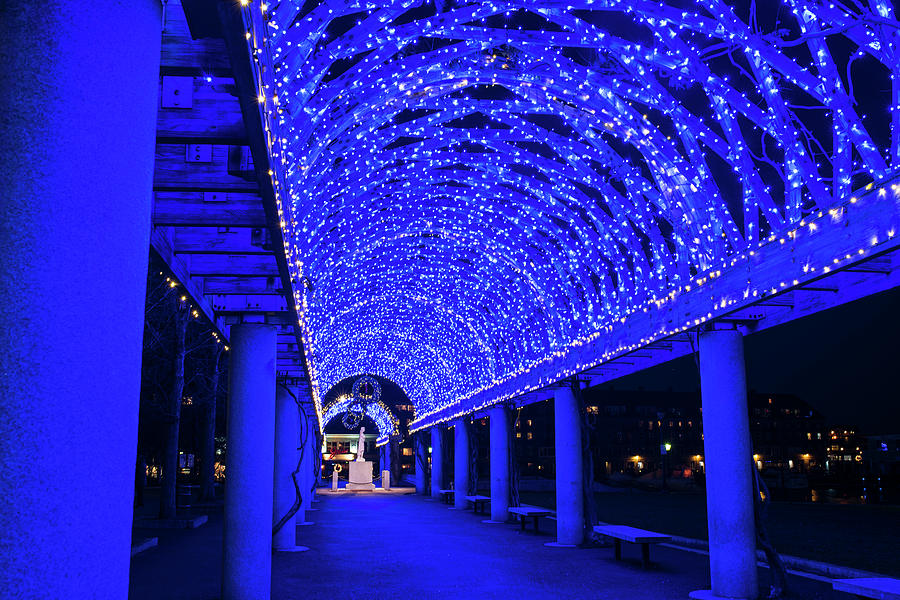 Boston photograph christopher columbus park lit up in blue boston ma glow by toby mcguire