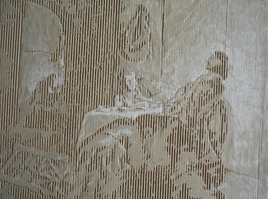 Cardboard Drawing - Christus In Emmaus by Dragan  Despotovic