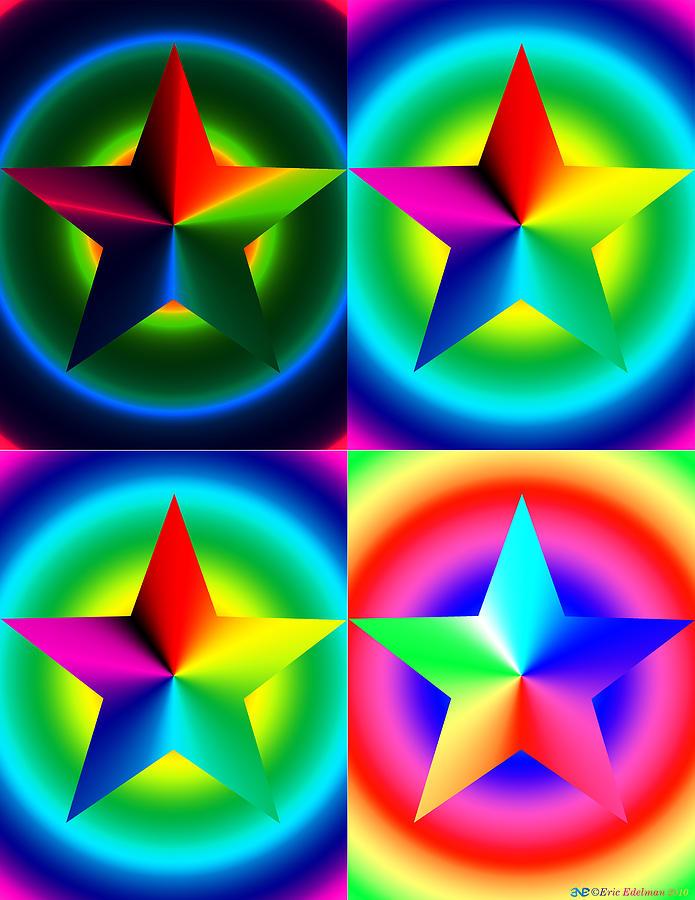 Pentagram Digital Art - Chromatic Star Quartet With Ring Gradients by Eric Edelman