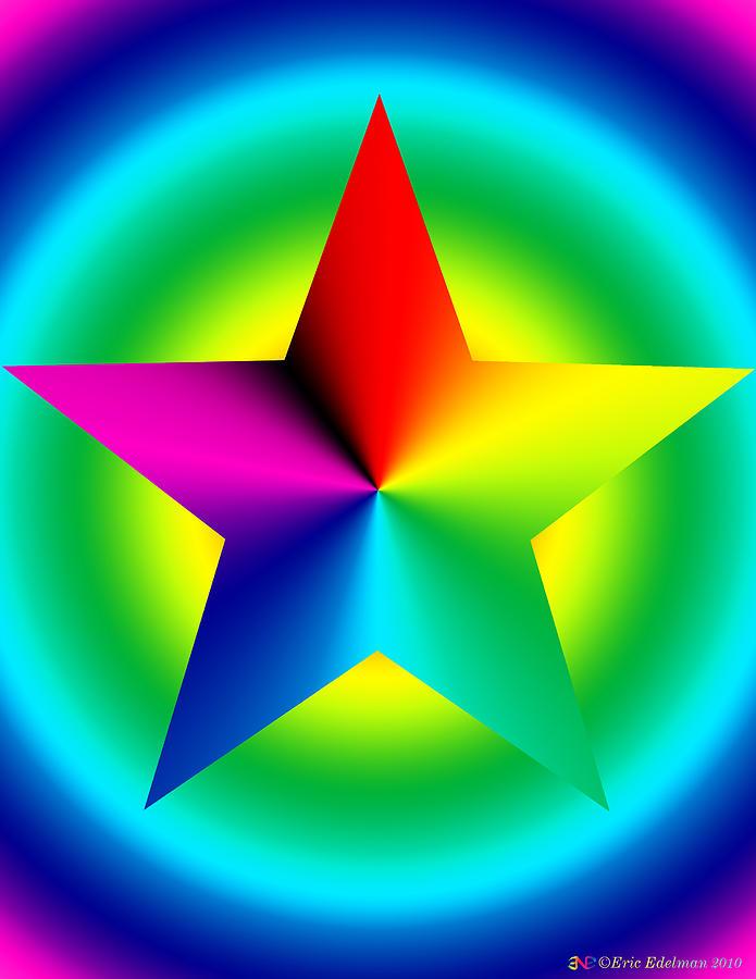 Pentagram Digital Art - Chromatic Star With Ring Gradient by Eric Edelman
