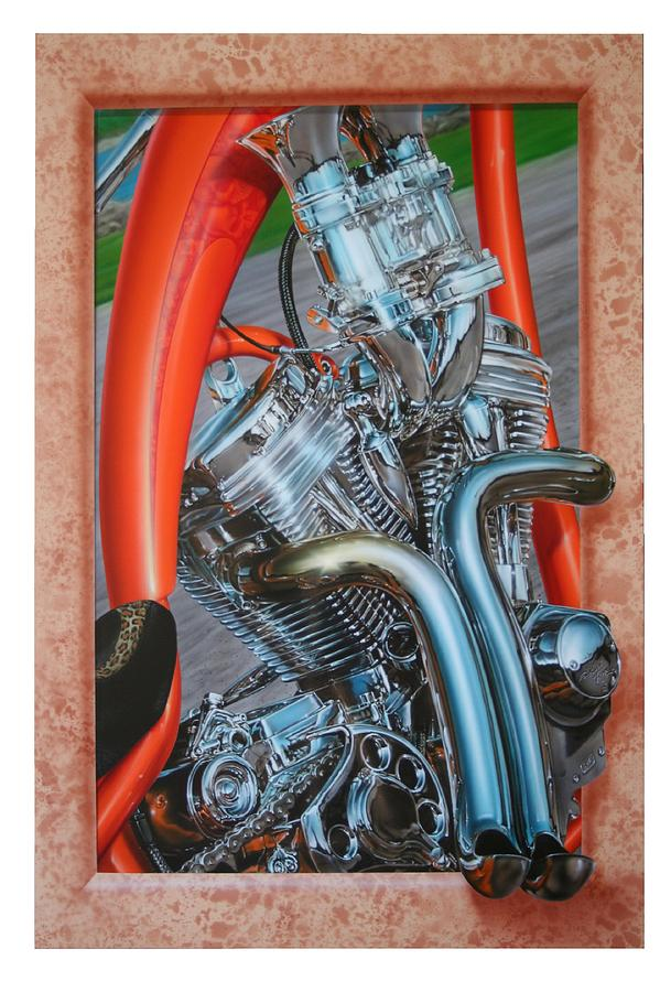 Motor Cycle Painting - Chrome Chopper by Terry Stephens