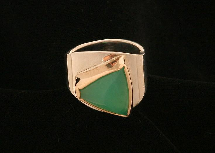 Sterling Silver Ring Jewelry - Chrysacolla Ring by Linda Bickel