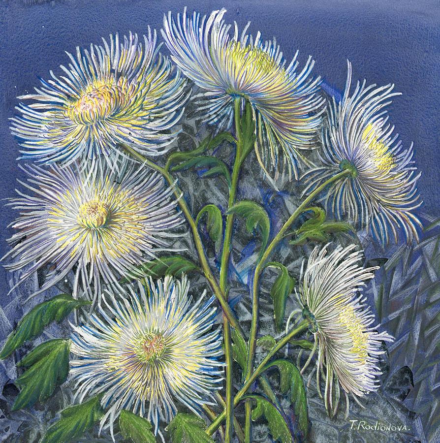 Still Life Painting - Chrysanthemum In Blue by Tatiana Rodionova