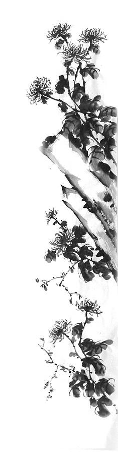 Japanese Painting - Chrysanthemum Stone 2 by Chang  Lee