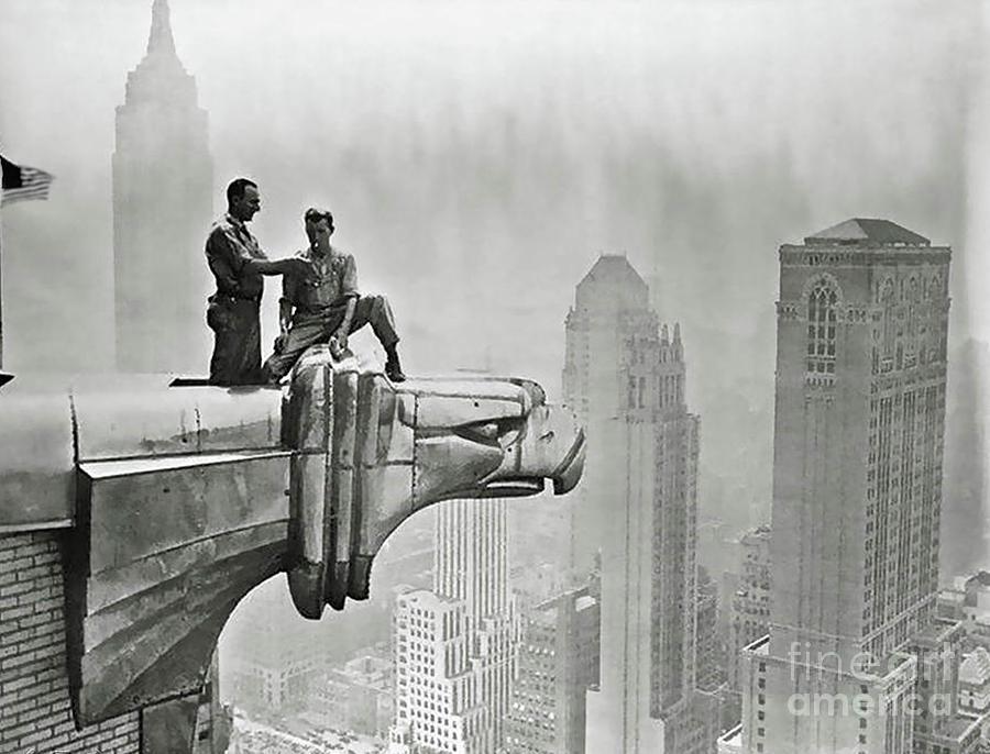 Chrysler Building Mixed Media - Chrysler Building gargoyle Eagle by Thomas Pollart