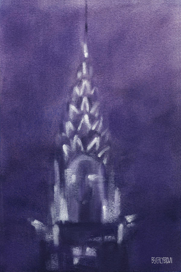 New York Painting - Chrysler Building Violet Night Sky by Beverly Brown