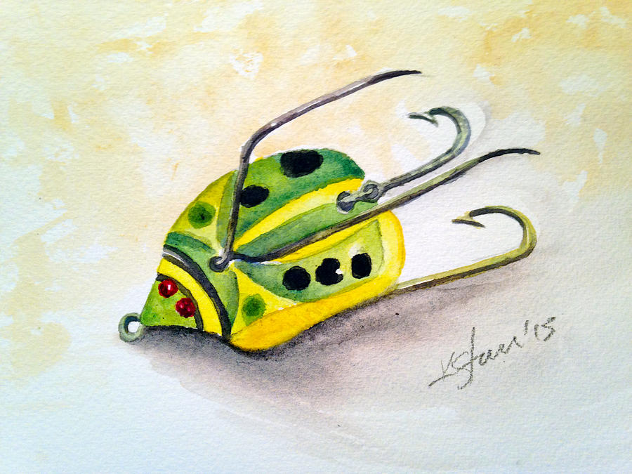 Fishing Painting - Chub Weed Lure by Kathy Sturr