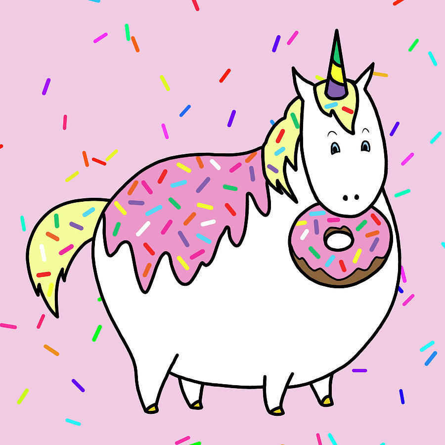 chubby unicorn eating sprinkle doughnut painting by crista