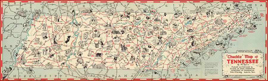 Chuckle Map Of Tennessee - Vintage Illustrated Map - Cartoon Vignettes Mixed Media