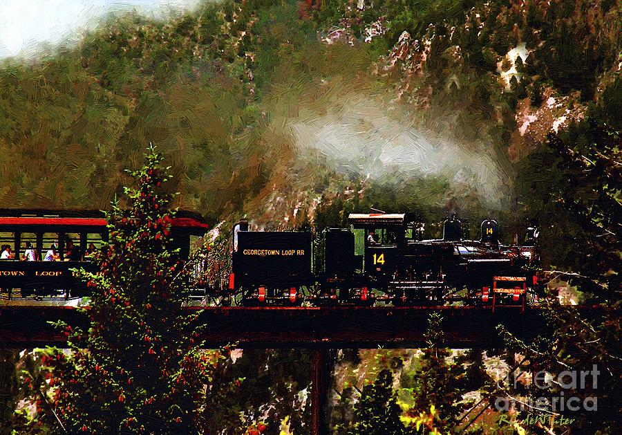 Americana Painting - Chugging Across The Devils Gate by RC DeWinter