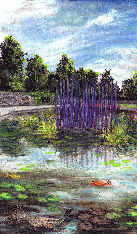 Waterlilies Pastel - Chuhuly Installation At Biltmore Water Gardens by April Zaidi
