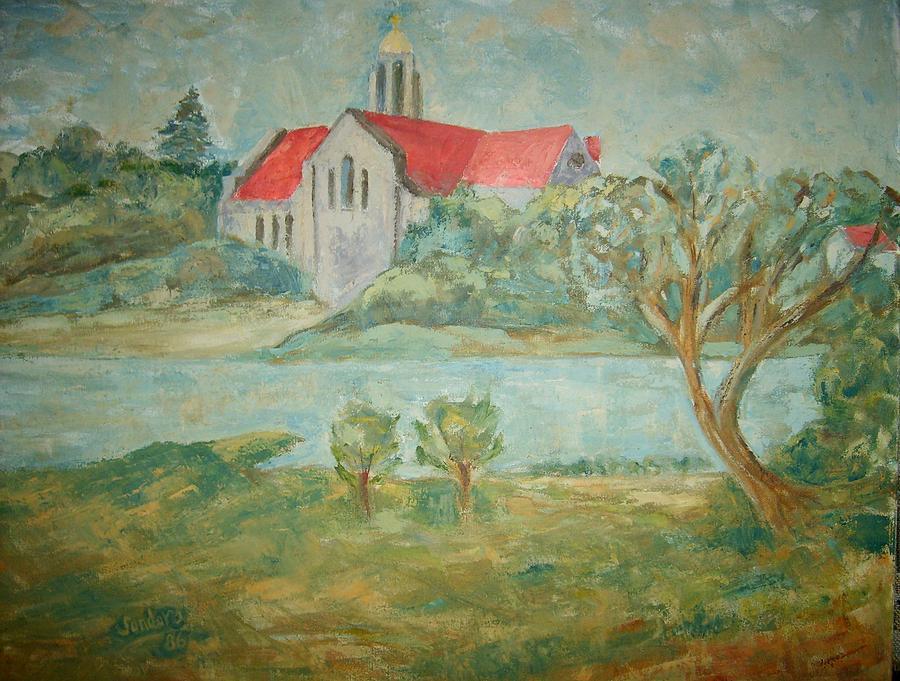 Church Across River Painting by Joseph Sandora Jr