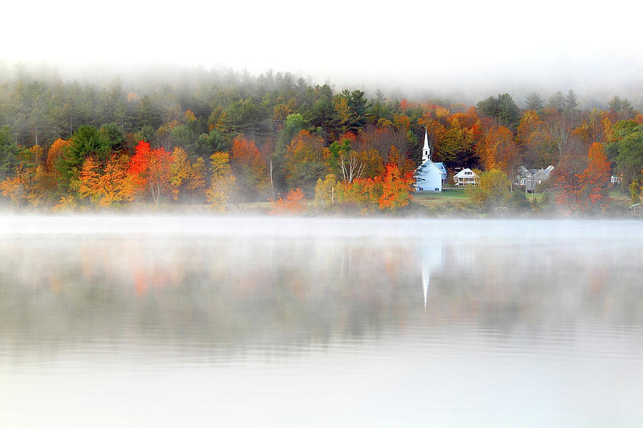 Fog Photograph - Church Across The Lake by Brian Pflanz