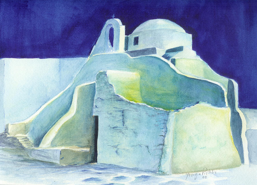 Landscape Painting - Church At Dusk by Georgia Pistolis