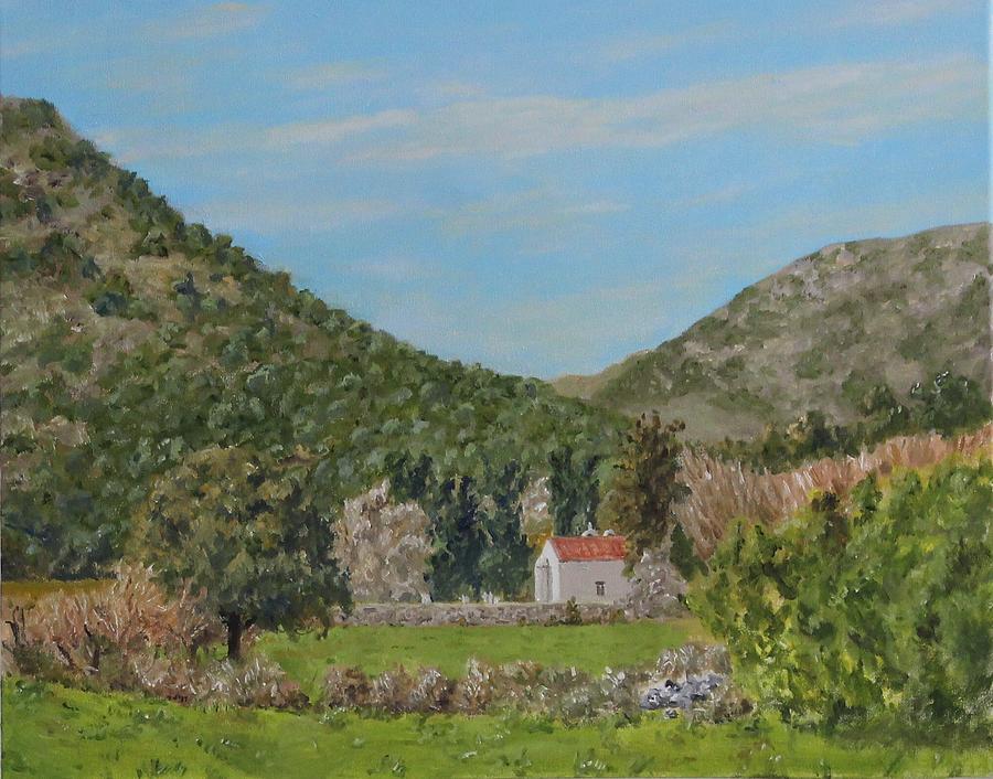 Church at Gonias, Askyfou Plateau, Crete by David Capon