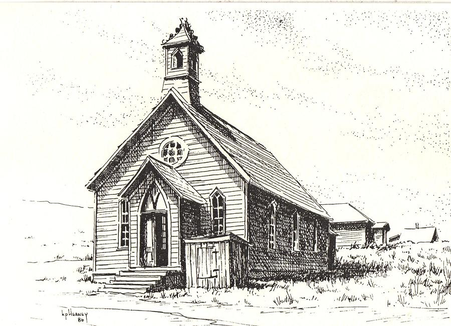 Ghost Town Drawing - Church Bodie Ghost Town California by Kevin Heaney