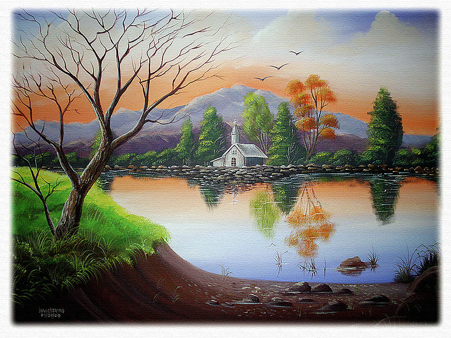 Church By The Lake Painting by Joey Victorino