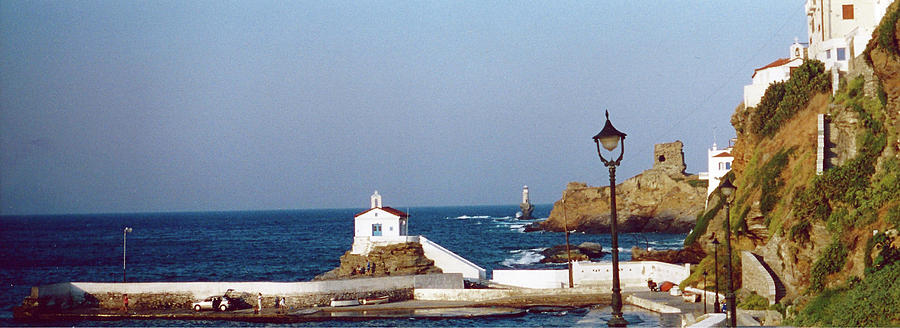 Sea Photograph - Church by the Sea - Andros by Christine Segalas