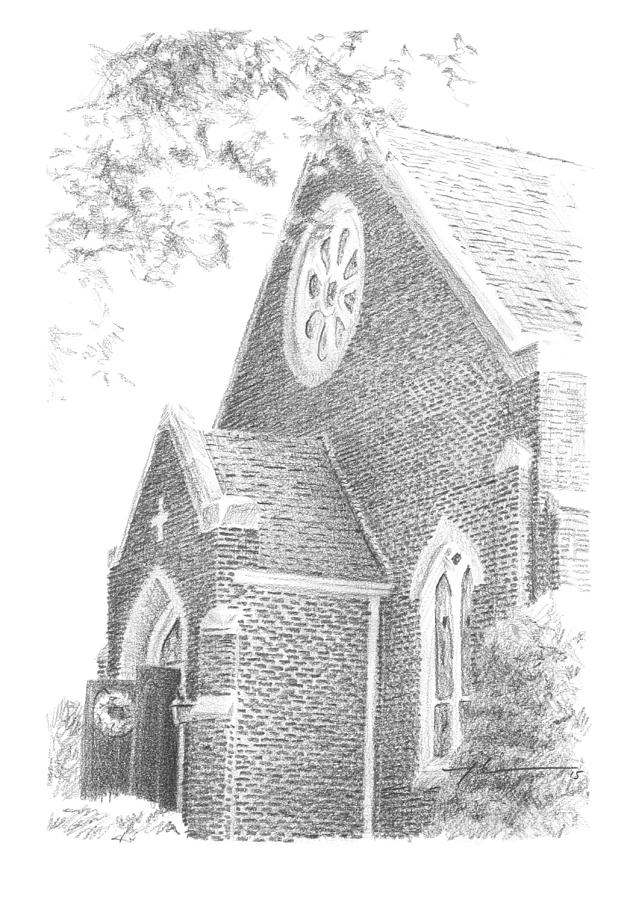 Church Front Drawing Drawing by Mike Theuer