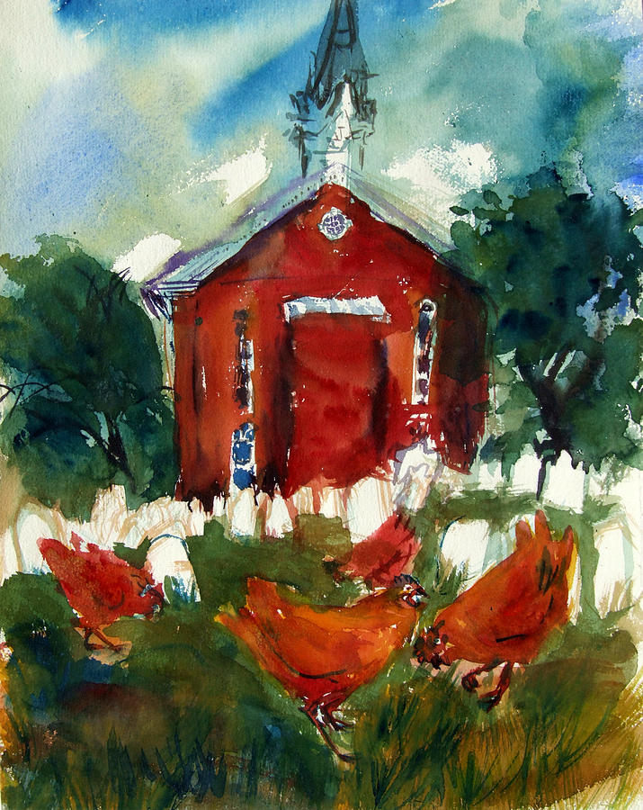 Chickens Painting - Church Hens by Diana Ludwig