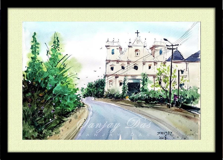 Church Painting - Church In Goa by Sanjay Das