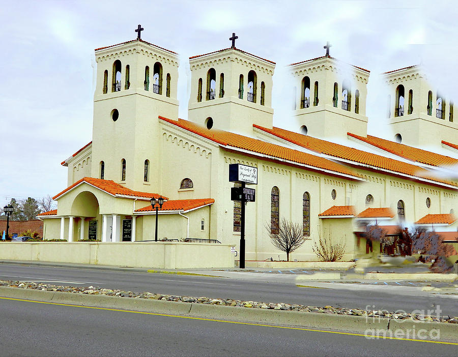 Pixels Digital Art - Church In New Mexico Multiplied by Karen Francis