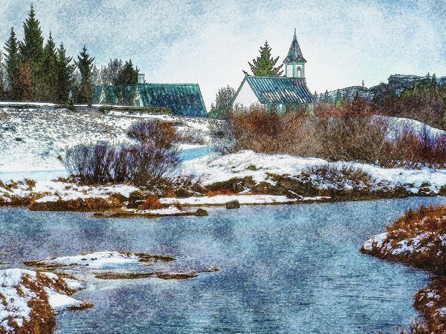 Iceland Digital Art - Church In Thingvellir by Frans Blok