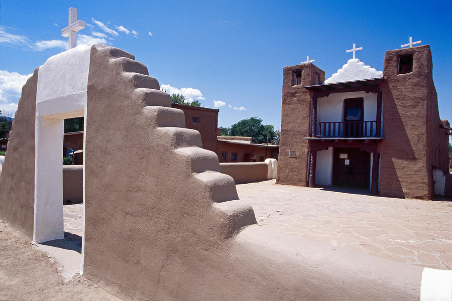 Adobe Photograph - Church Of Taos Pueblo New Mexico by George Oze