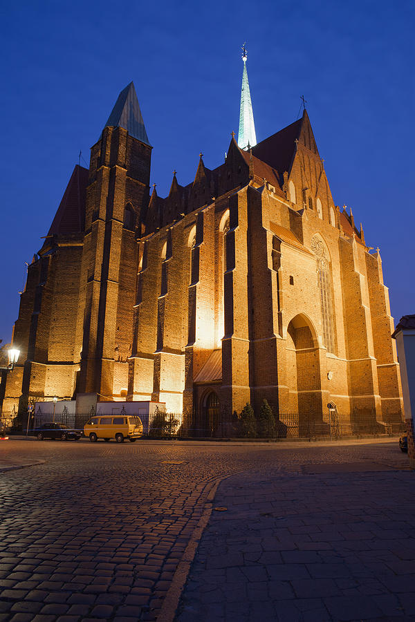 Wroclaw Photograph - Church Of The Holy Cross By Night In Wroclaw by Artur Bogacki