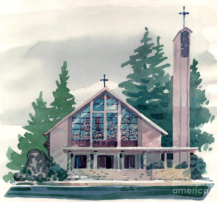 Illustration Painting - Church Of The Immaculate Heart Of Mary by Donald Maier