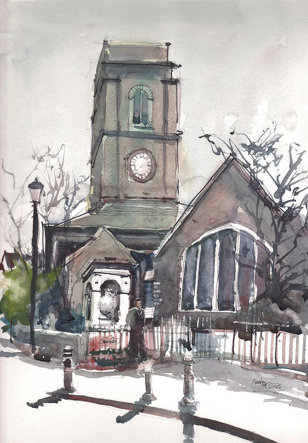 Chelsea Painting - Church On Chelsea Embankment by Gaston McKenzie