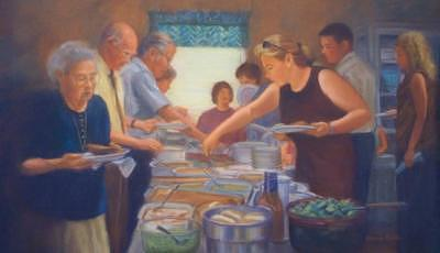Church Painting - Church Potluck by Diane Caudle
