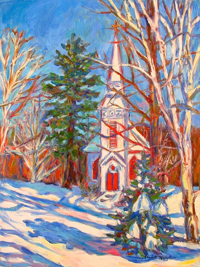 Church Painting - Church Snow Scene by Kendall Kessler