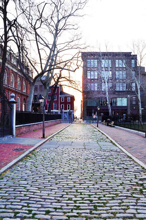 Church Photograph - Church Street Cobblestones - Philadelphia by Bill Cannon
