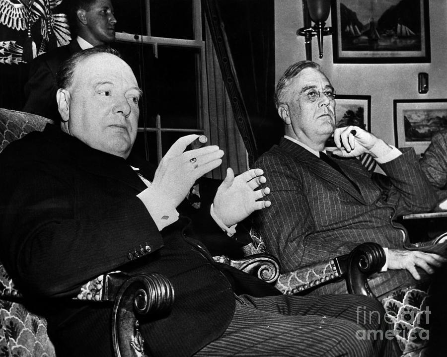 1941 Photograph - Churchill & Roosevelt by Granger