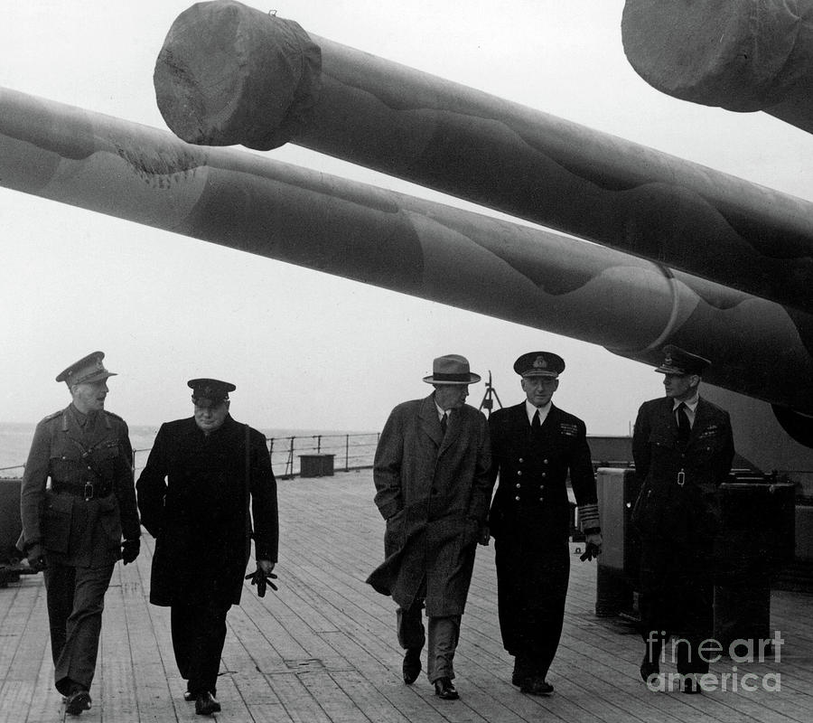 Churchill Photograph - Churchill Aboard The Hms Prince Of Wales, 1941 by English School