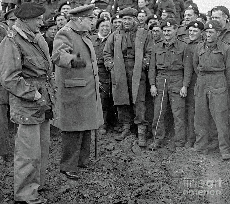 At The Front Photograph - Churchill And Field Marshall Bernard Montgomery Visiting Troops After The Rhine Crossings, 1945 by English School