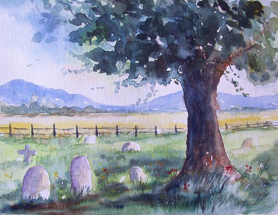 Landscape Painting - Churchyard Severn Stoke by Susan Ryder