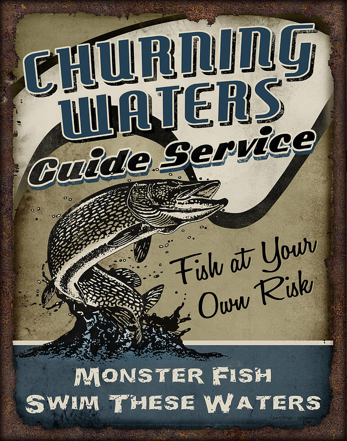 Fishing Painting - Churning Waters Guide Service by JQ Licensing