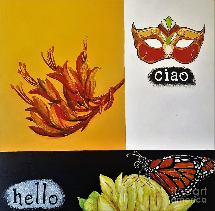 Words Painting - Ciao Means Hello by Tracey Lee Cassin