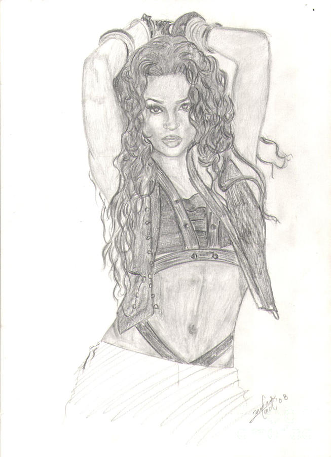 Celebrity Portrait Drawing - Ciara by Tavian Ford