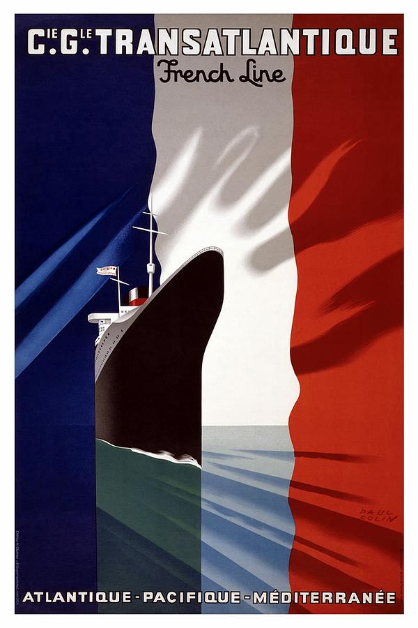 Cie Gle Transatlantique - French Line - Retro Travel Poster - Vintage Poster Mixed Media