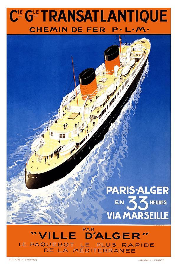 Cie Gle Transatlantique - Par Ville Dalger - Britishers - Retro Travel Poster - Vintage Poster Mixed Media