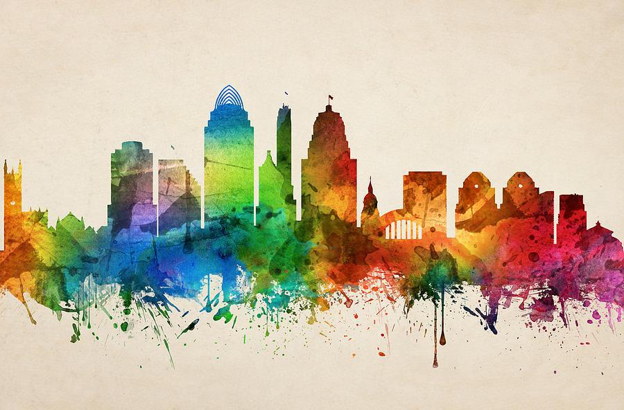 Cincinnati Painting - Cincinnati Ohio Skyline 05 by Aged Pixel