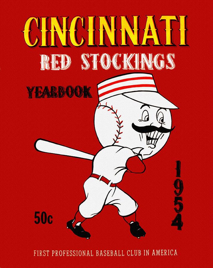 Cincinnati Reds 1954 Vintage Yearbook Painting By John Farr