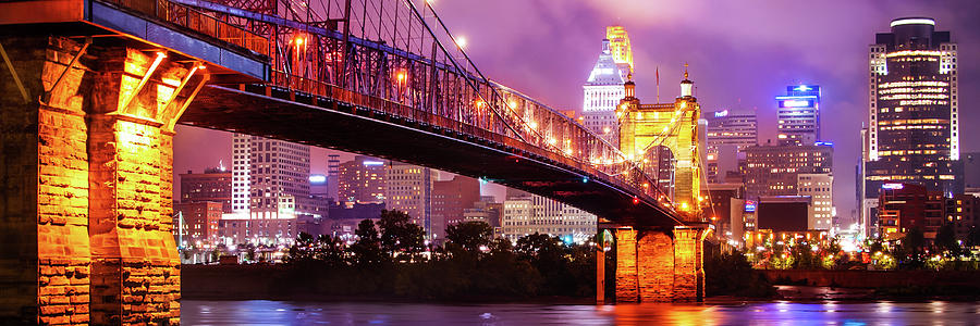 America Photograph - Cincinnati Skyline Panorama - Ohio - Usa by Gregory Ballos