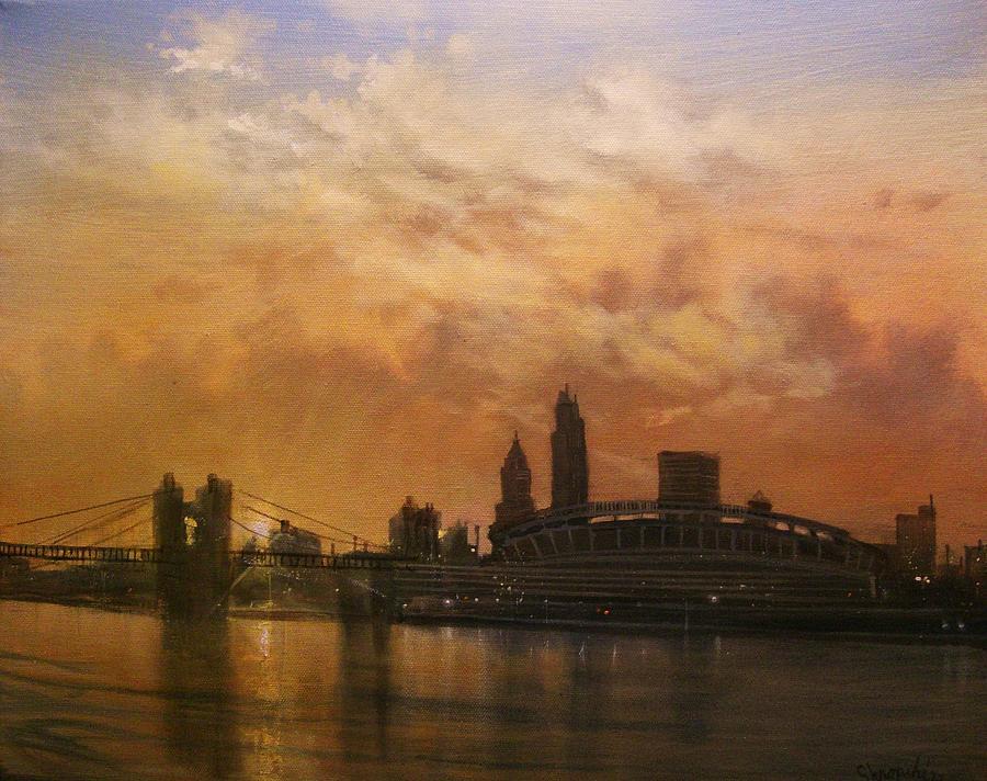 Cincinnati Painting - Cincinnati Skyline by Tom Shropshire